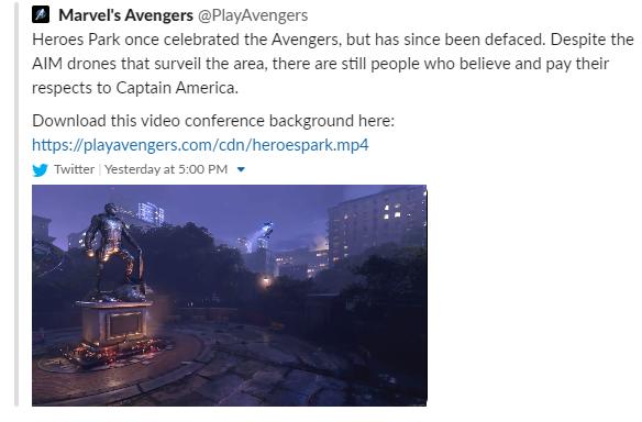 """«Раньше """"Парк Героев"""" прославлял Мстителей, но был испорчен. Несмотря на наличие дронов AIM, патрулирующих район, всё равно находятся люди, которые верят в Капитана Америку»."""