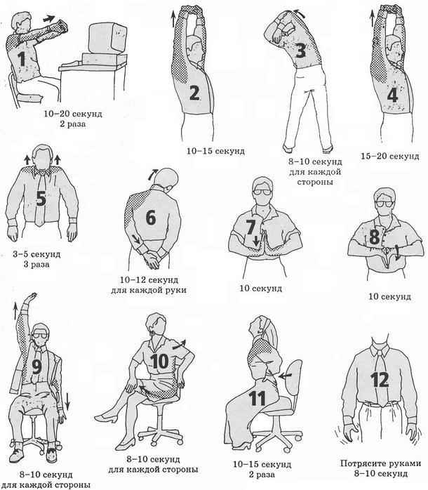 Общий комплекс упражнений для разминки за компьютером