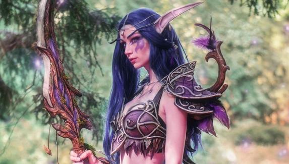 Косплей на Тиранду Шелест Ветра из World of Warcraft — гордая ночная воительница