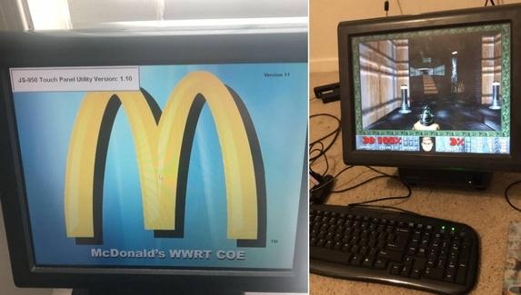 Большую колу и дробовик: фанат DOOM запустил игру на кассовом аппарате McDonald's