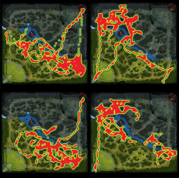 Карты перемещений Зайца на стадии лейнинга (с 0 по 10 минуту)