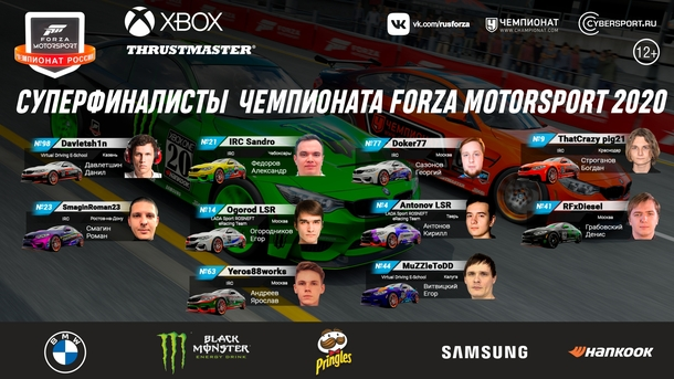 Участники суперфиналаForza Motorsport 2020