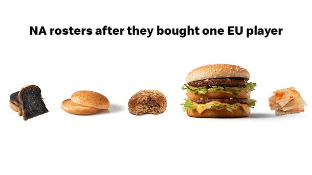 «Когда североамериканский состав покупает игрока из Европы».   Источник: твиттер @McDonaldsDENews