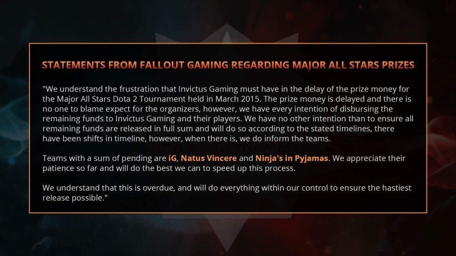 Fallout Gaming response to payment delays