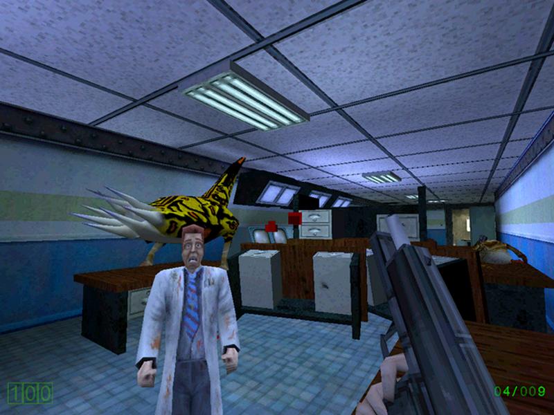 Скриншот «Охранного комплекса». Стоит отметить другой вид буллсквида и ученого на переднем плане