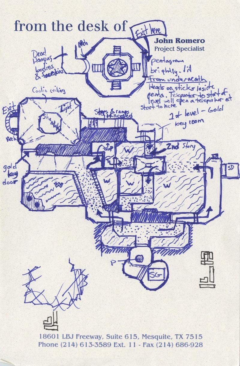 Один из скетчей будущей карты, нарисованный Джоном Ромеро