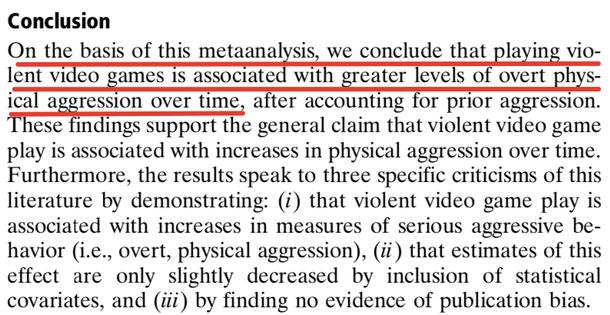 На основе этого метаанализа мы заключаем, что игра в жестокие видеоигры связана с более высокими уровнями явной физической агрессии.