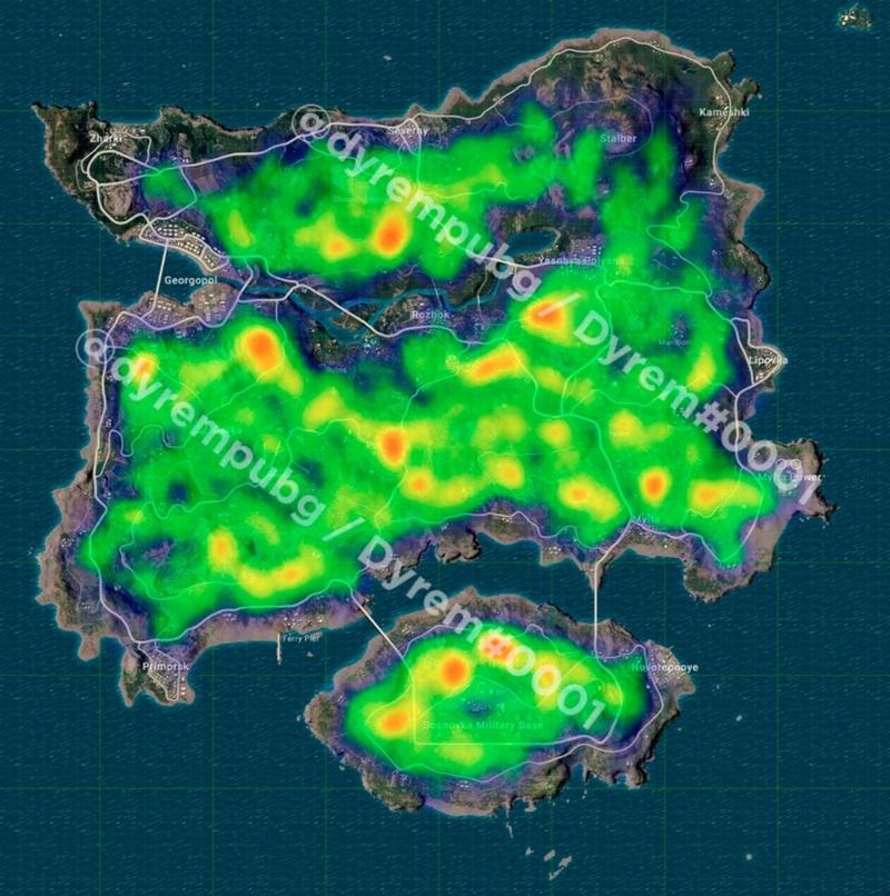Распределение финальных зон на Erangel. Источник: twitter.com/dyrempubg