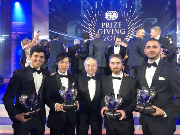 Чемпионы FIA GT Championship 2018 на церемонии награждения FIA с президентом федерации Жаном Тодтом