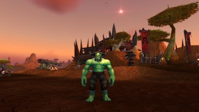 Орк в штанах и шляпе. World of Warcraft
