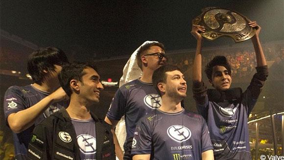 Evil Geniuses после победы на TI | Источник: Valve
