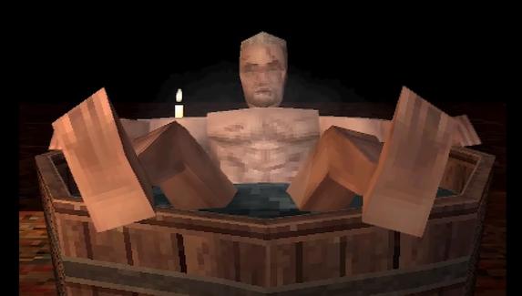 Легендарную сцену с Геральтом в ванне воссоздали на PlayStation 1