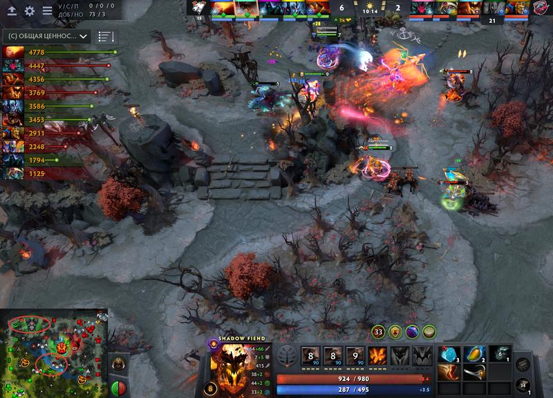 VP дайвит за тир-1 в миде, Doom в одиночку забирает башню сверху