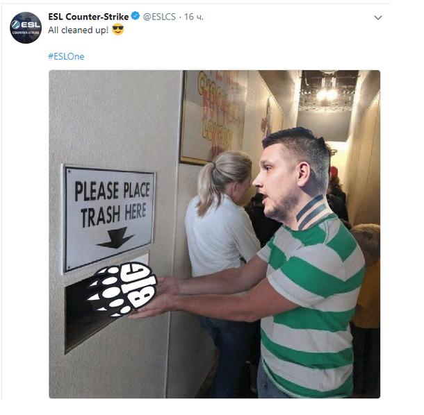 Мем с Данилом Zeus Тесленко в Twitter ESL Counter Strike после финала ESL One Cologne 2018, где команда Natus Vincere победила BIG со счетом 3:1