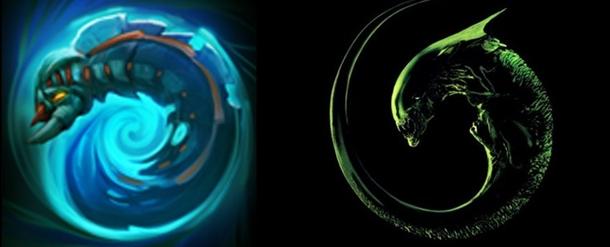 """Слева - иконка ультимейта Вивера, справа - постер к фильму """"Чужой 3""""."""