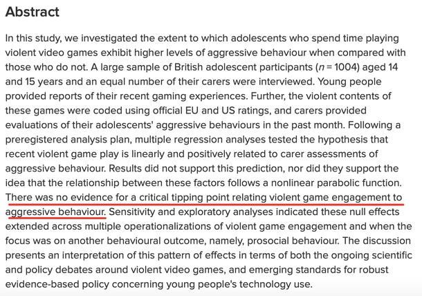 Нет никаких доказательств обнаружения переломного момента, который бы связывал жестокое поведение с игрой в компьютерные игры.