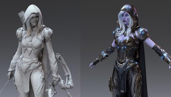 3D-моделлер преобразил Drow Ranger из Dota2 в стилистике Cyberpunk 2077