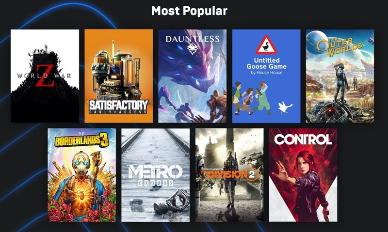 Самые популярные игры в Epic Games Store. Источник: Epic Games