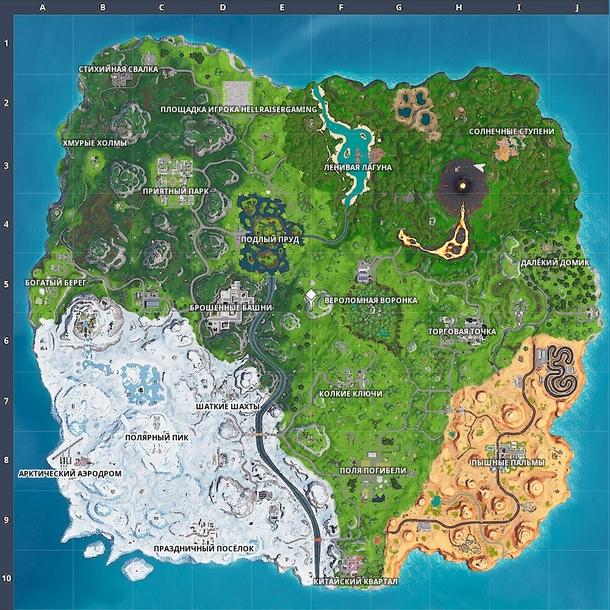 Карта восьмого сезона Fortnite
