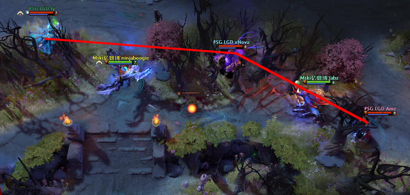 Once again, LGD's opponents are trapped with the help of terrain and a clever bait.