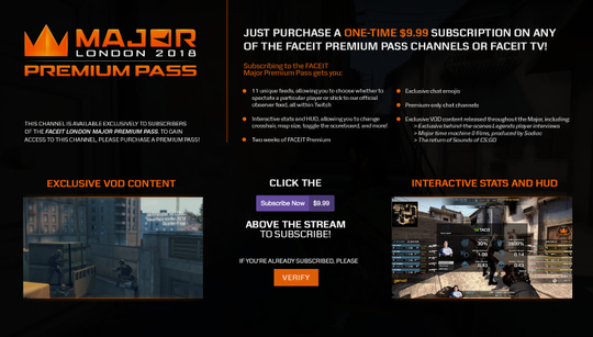 FACEIT partner with Twitch to bring Premium Pass for FACEIT Major