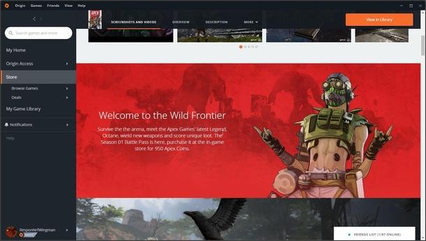 Скриншот со страницы Apex Legends в Origin. Источник: reddit