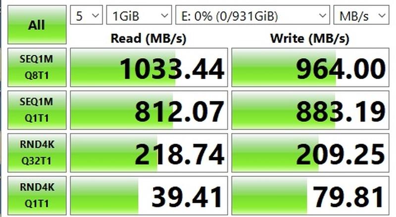 Тест SSD SSD WD Black P50 на USB 3.2 Gen 2 в CrystalDiskMark