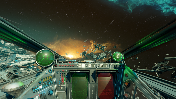 X-wing из Star Wars: Squadrons изнутри: синяя, красная и зеленая полоски лампочек в левой части панели — индикаторы распределения энергии