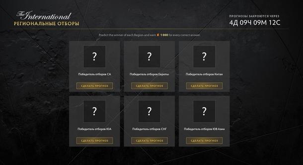 Скриншот страницы прогнозов на результаты отборочных к The International 10