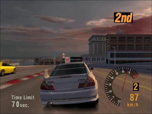 Гонка на четвёртом «Эволюшене» в Gran Turismo. Смотрится примитивно, но физика была намного реалистичнее, чем в других гоночных играх