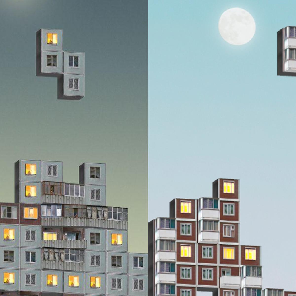 """Картинки по запросу """"Российские разработчики создали тетрис из панельных многоэтажек"""""""