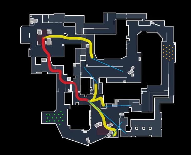 Карта активности и контроля gla1ve (Mirage vs. FaZe). Синие линии - информация по позиции.