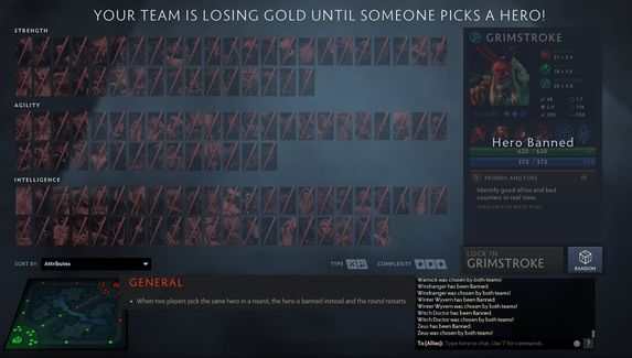 Игроки в Dota 2 сломали лобби, выбирая одних и тех же героев