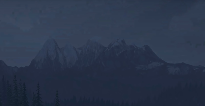 Горы на горизонте в игре