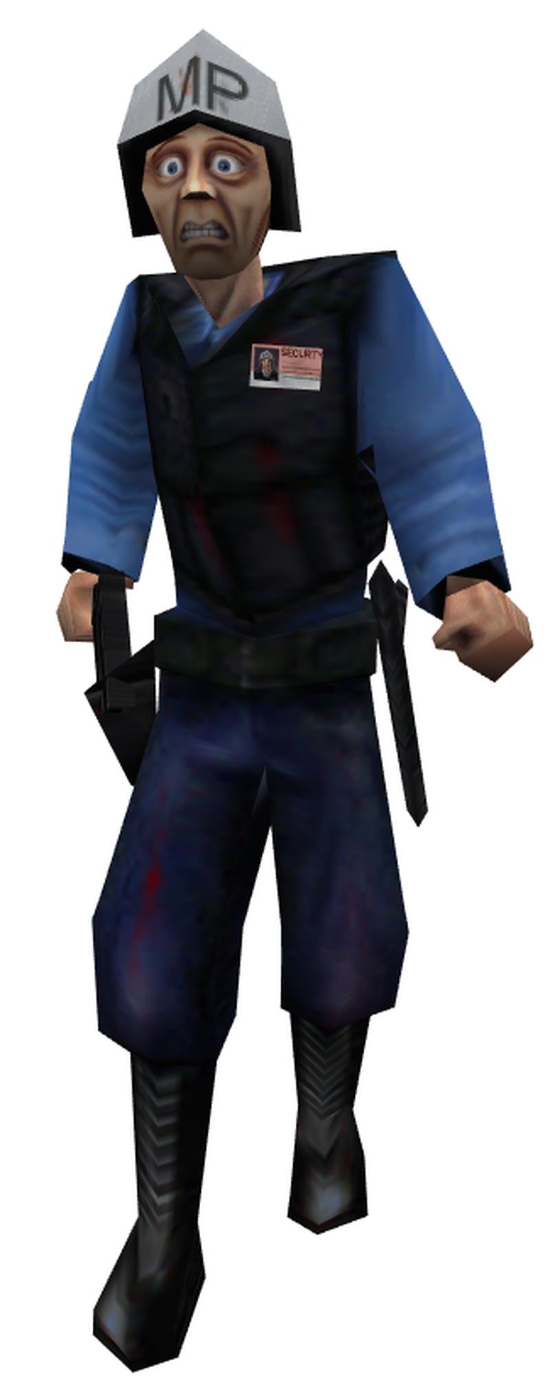 Ранняя версия Барни. Буквы MP на шлеме обозначают военную полицию — на первых порах никакой охраны комплекса в игре не было
