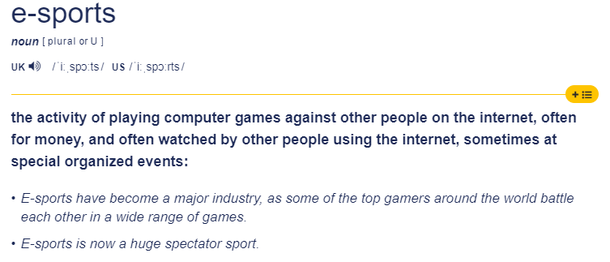 e-sports и никак иначе, по мнению составителей Cambridge Dictionary