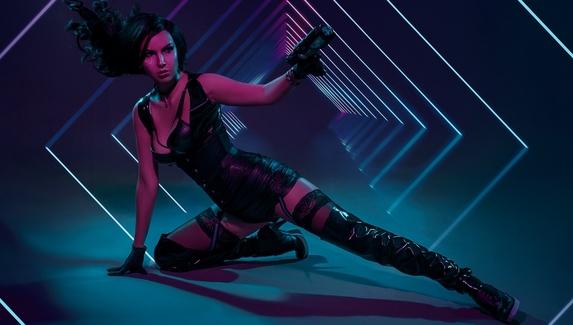 Косплей на Йеннифэр в мире Cyberpunk 2077 — чародейка с пистолетами