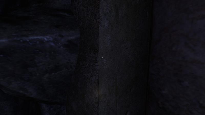"""Несостыкованные текстуры, через которые видно """"изнанку"""" уровня. Свет из «щели» при этом очень яркий"""