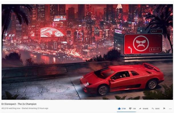 Скриншот со стрима DrDisRespect на YouTube с 400 тыс. зрителей | Источник: YouTube