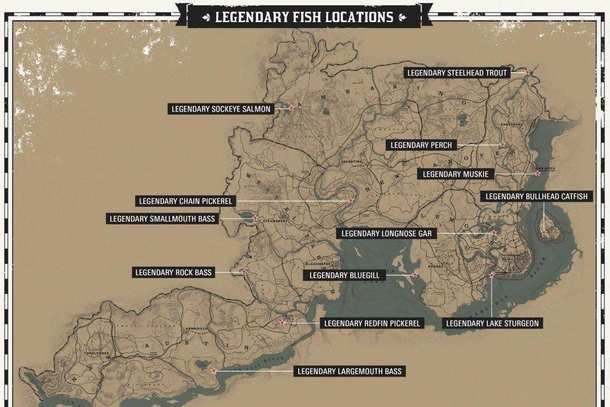 Map of legendary fish in Red Dead Redemption 2