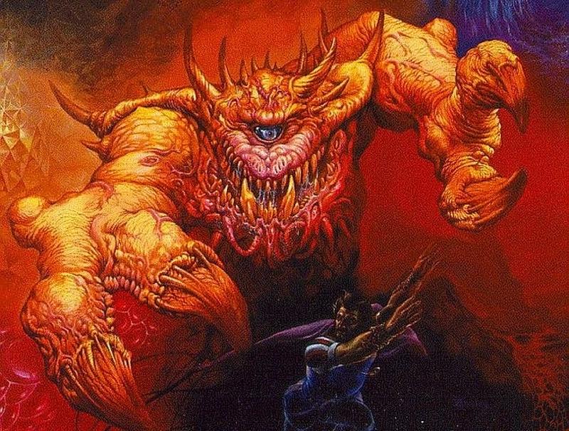 Существо с обложки книги Manual of the Planes по Dungeons and Dragons — все сотрудники id Software участвовали в длительной кампании, которую вел Джон Кармак