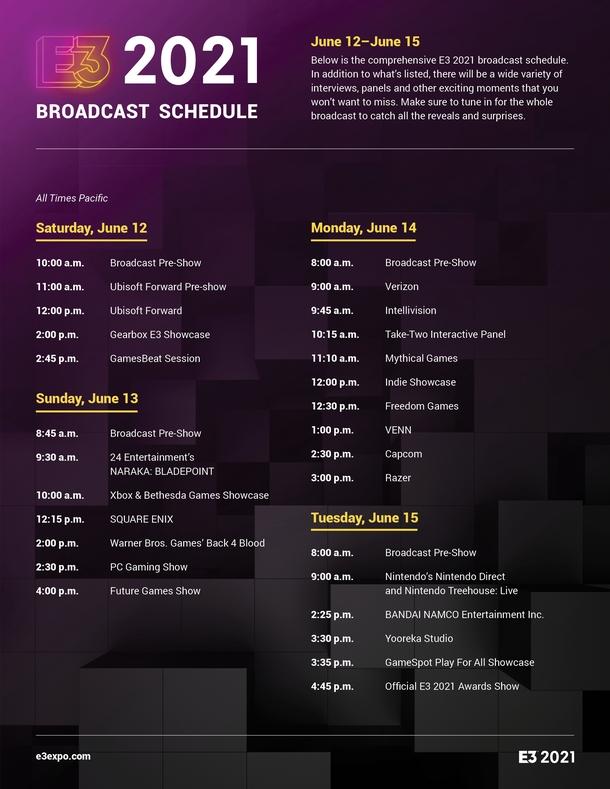 Официальное расписание E3 2021
