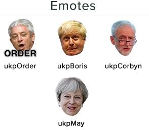 Эмоции для подписчиков на канале twitch.tv/ukparliament