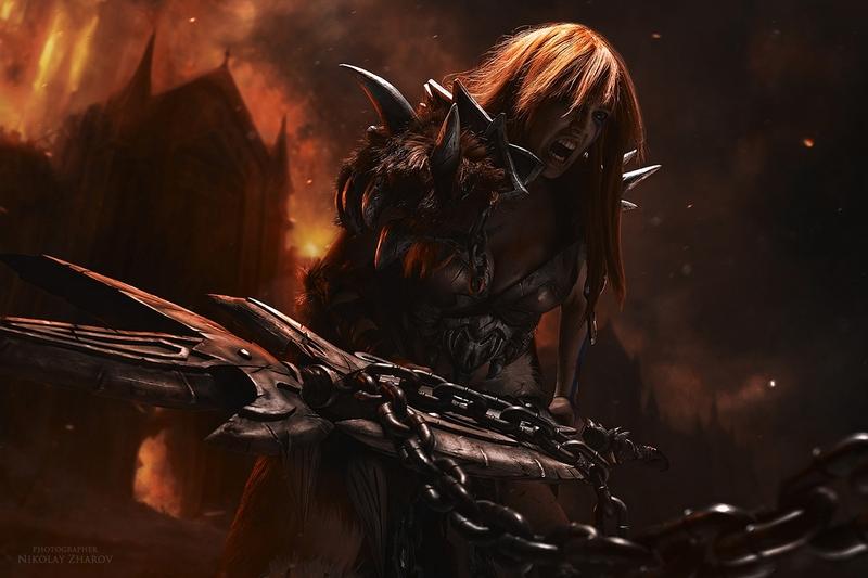 Barbarian. Diablo III. Косплеер: Катя Смирнова. Фотограф: Николай Жаров. Источник: vk.com/nikolay_photogroup