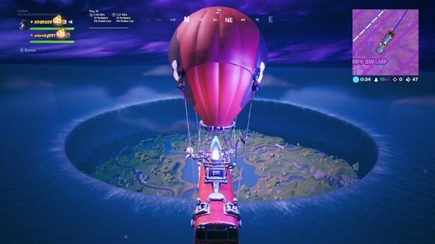 Карта во время ивента «Агрегат» в Fortnite