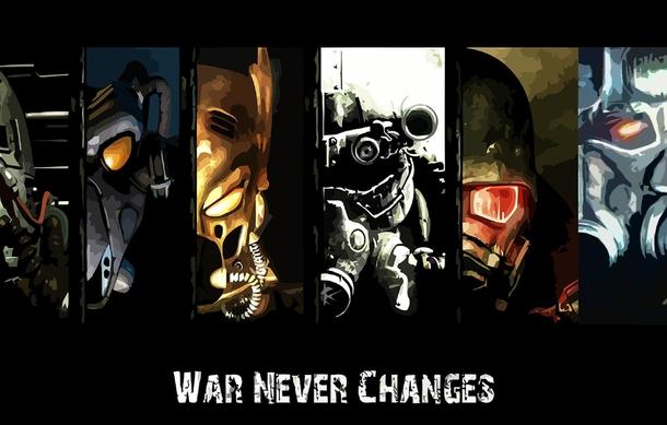 """«War Never Changes» или """"Война никогда не меняется - запоминающаяся цитата, произнесенная во время вступительных роликов в различные игры серии Fallout .В сентябре 1997 была выпущена первая игра Fallout для ПК, в которой впервые была использована фраза «Война никогда не меняется». 30 сентября 1998 года было выпущено продолжение Fallout 2 , в котором во вступительной части использовалась та же фраза. Десять лет спустя эта цитата была представлена во введении к игре Fallout 3 ."""